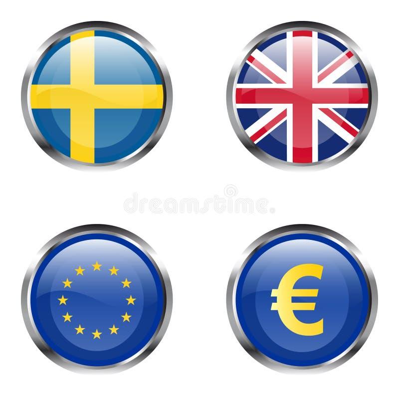 6个按钮欧洲标志零件 皇族释放例证