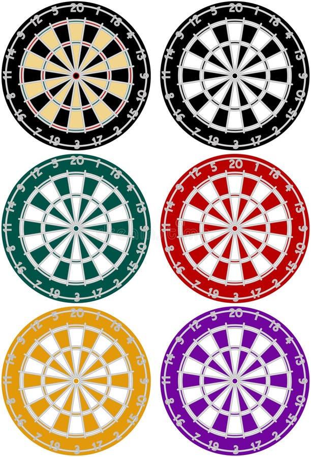 6个掷镖的圆靶设置了 库存例证