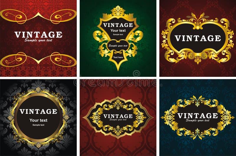 6个框架样式葡萄酒 皇族释放例证