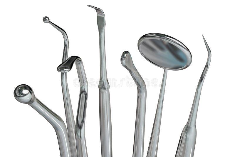 6个牙科医生查出的工具 向量例证