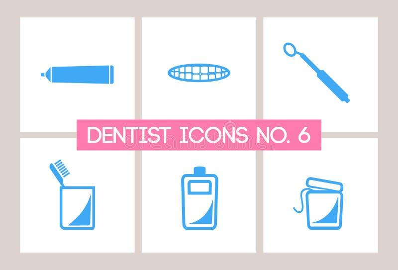 6个牙齿牙科医生图标没有 向量例证