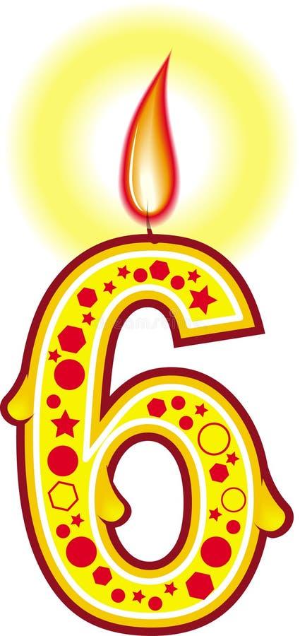 6个生日蜡烛 皇族释放例证