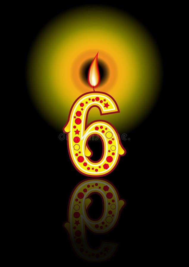 6个生日黑色蜡烛 库存例证