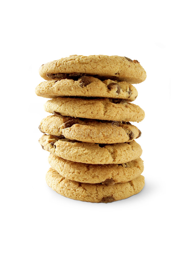 6个筹码choc曲奇饼包括的paht 库存照片