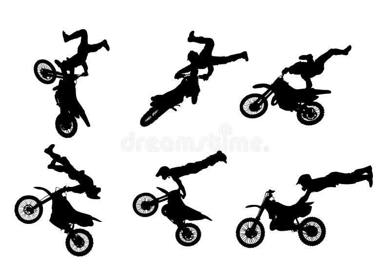 6个自由式高摩托车越野赛质量剪影 向量例证