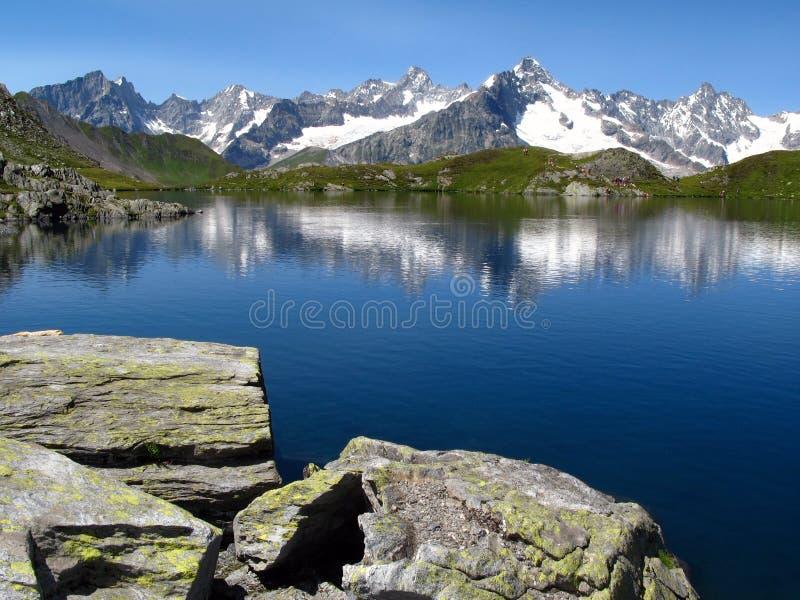 6个阿尔卑斯欧洲fenetre湖 库存照片