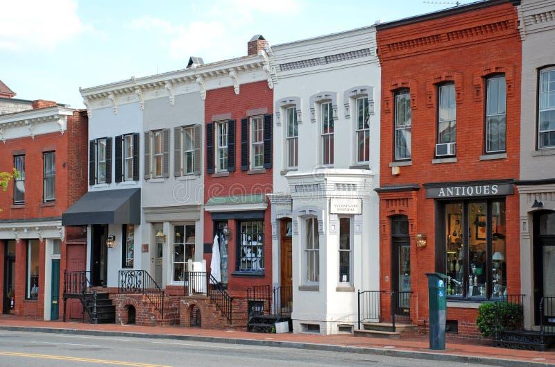 6主要小的街道城镇 库存照片