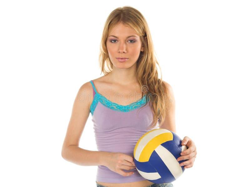 6有吸引力的女孩排球 免版税库存图片