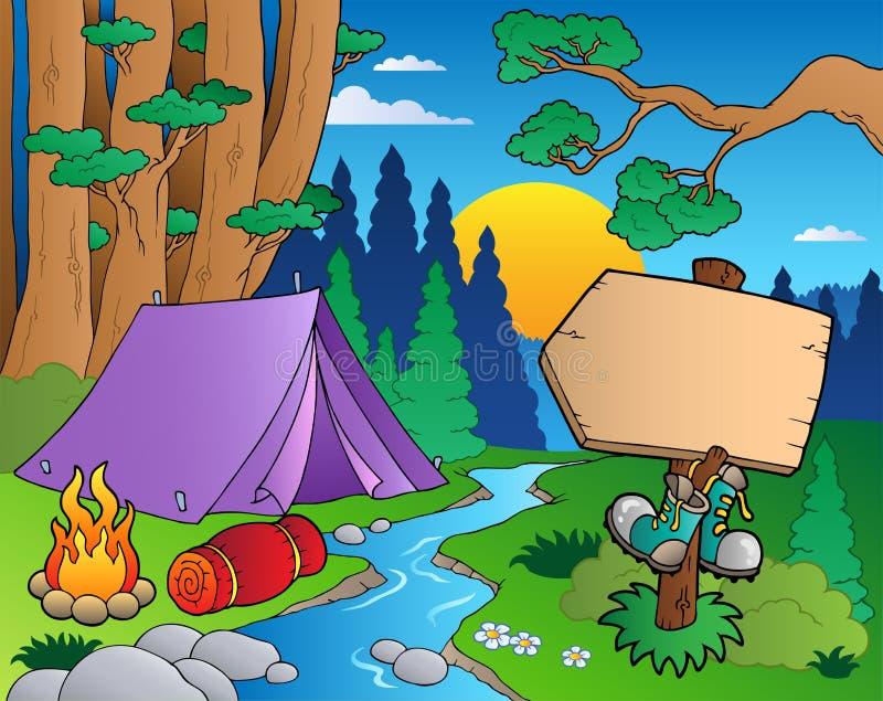 6部动画片森林横向 库存例证