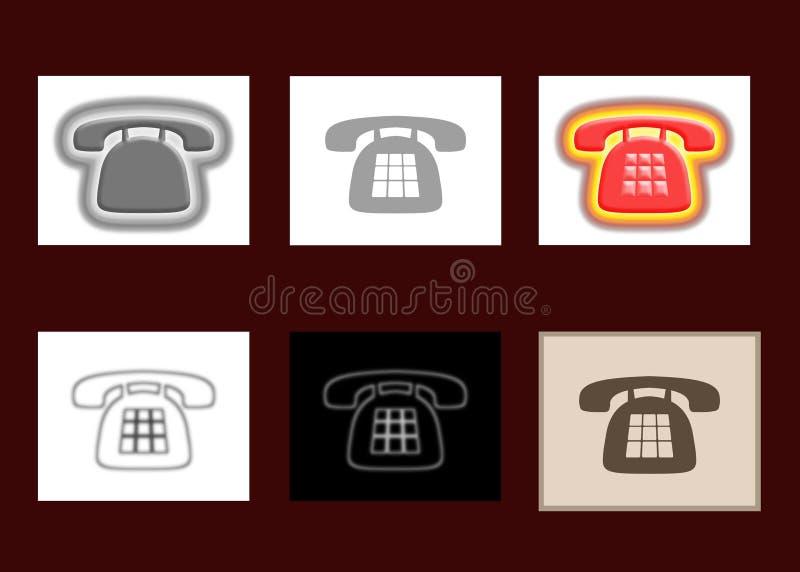 6 ícones do telefone ilustração royalty free