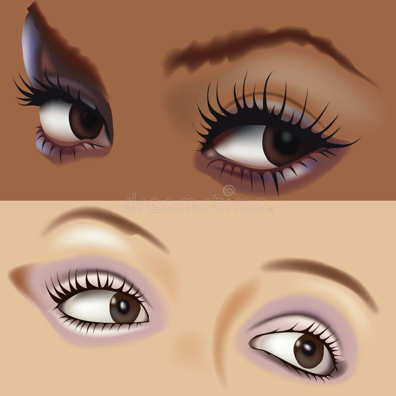 6 ögon vol royaltyfri illustrationer