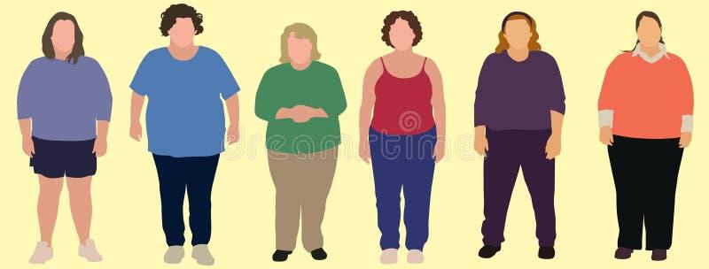 6 överviktiga kvinnor vektor illustrationer