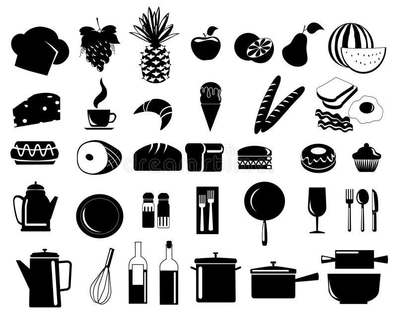 6 εικονίδια τροφίμων διανυσματική απεικόνιση