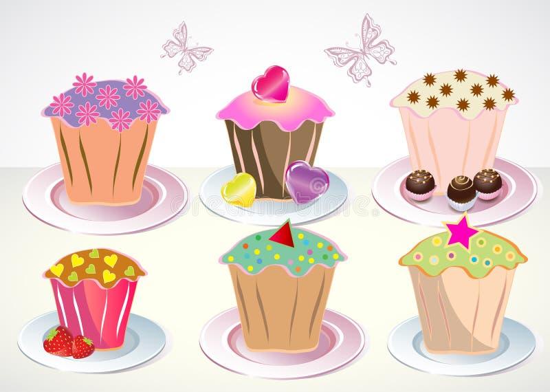 6 χαριτωμένα πιάτα cupcakes που τίθ&epsilo διανυσματική απεικόνιση