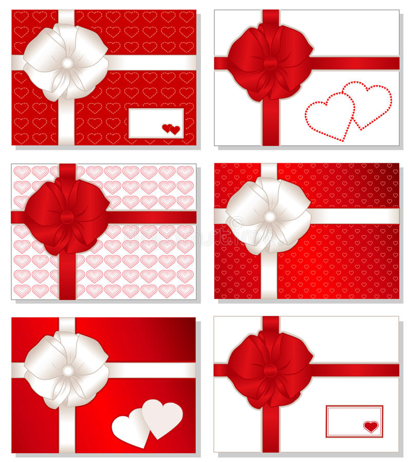 6 сердец подарка коробок иллюстрация вектора