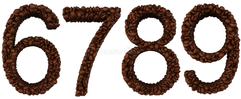 6 7 8 9 kaffestilsortstal stock illustrationer