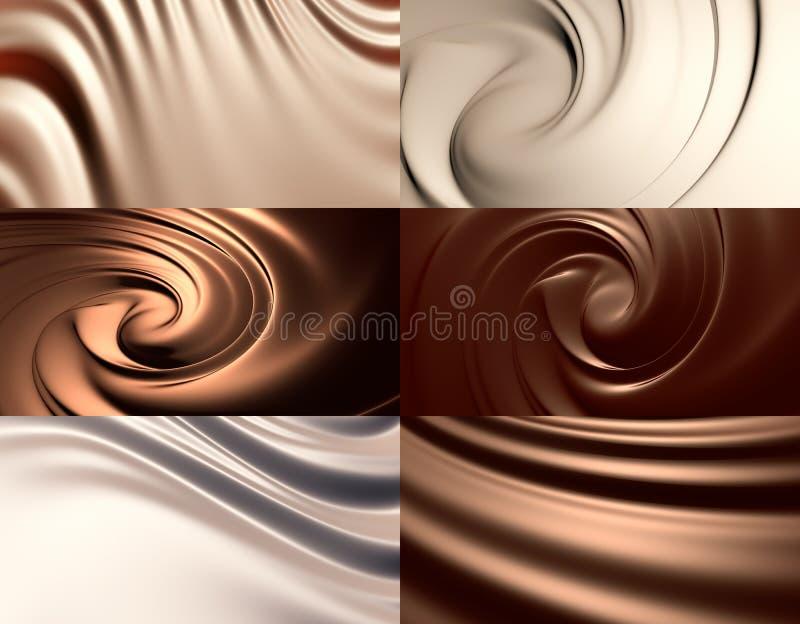 6 ambiti di provenienza astratti del cioccolato impostati illustrazione di stock
