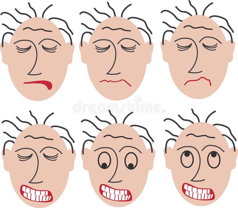 6 angry faces vector illustration