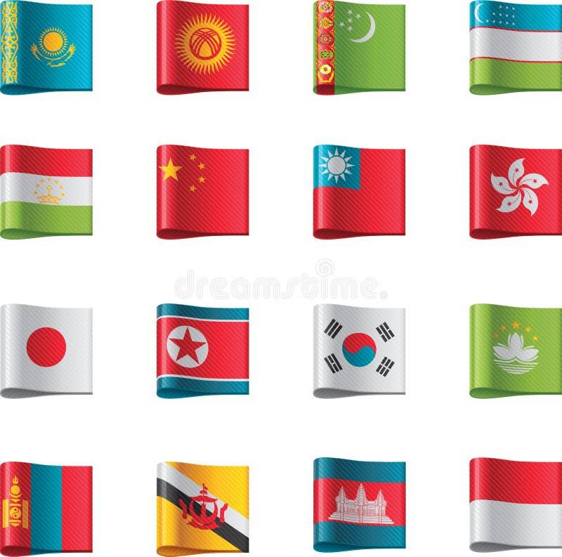 6 asia flaggor part vektorn vektor illustrationer