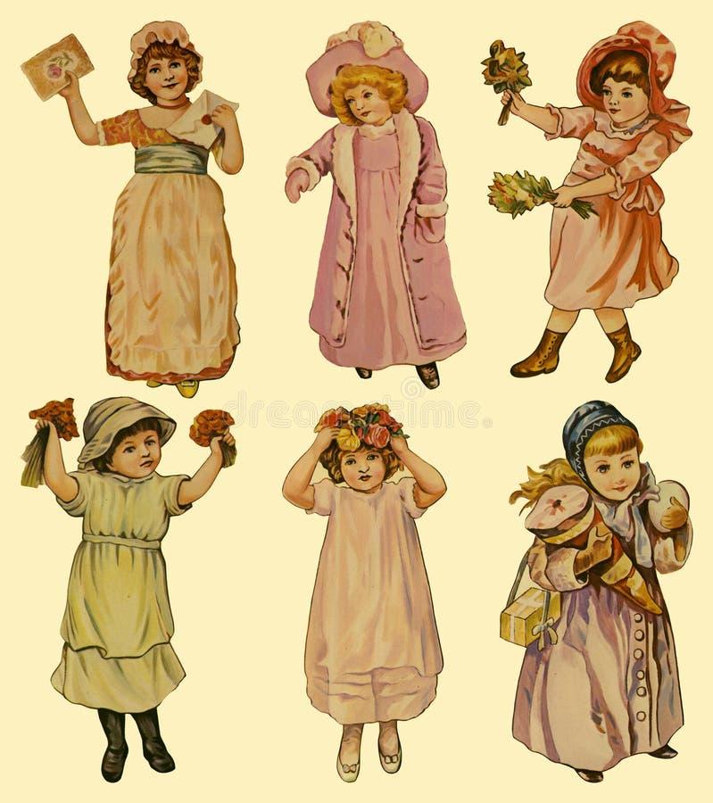 6 bambole di carta dell'annata royalty illustrazione gratis