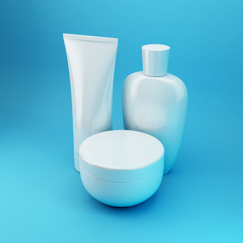 6 blåa kosmetiska produkter fotografering för bildbyråer