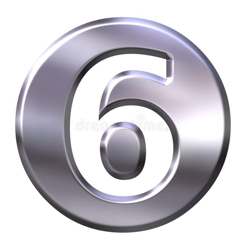 6 być obramowane liczby srebra ilustracja wektor