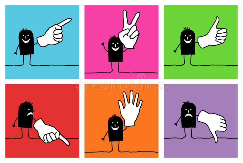 Download 6 characters - hand signs stock vector. Image of asset - 9782467