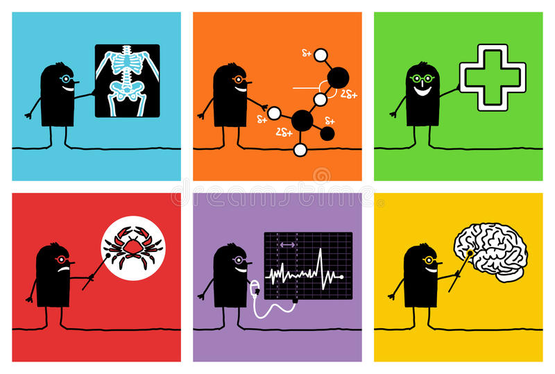 6 characters - scientists & doctors royalty free illustration