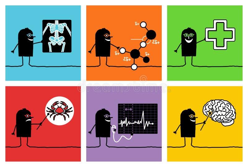 6 charakterów lekarek naukowów royalty ilustracja