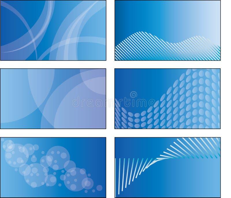 6 conceptions de descripteur de carte de visite professionnelle de visite de bleu illustration stock