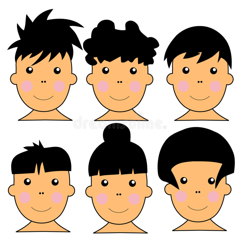 6 Cute Caucasian Kids Vector Illustration. 1Series of 6 Cute Caucasian Kids Vector Illustration With DIfferent Hairstyles royalty free illustration
