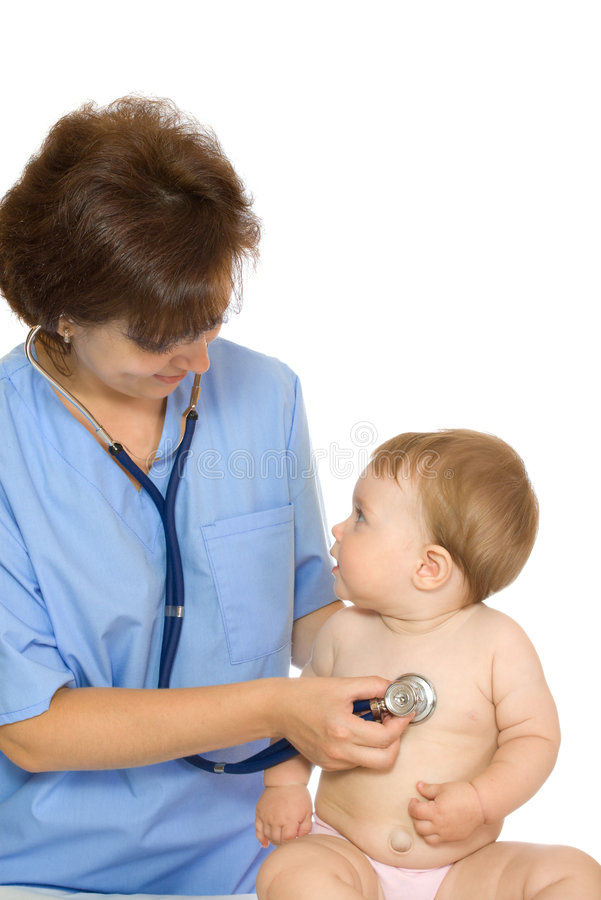 6 dziecka lekarki mały uśmiechnięty stetoskop zdjęcia royalty free