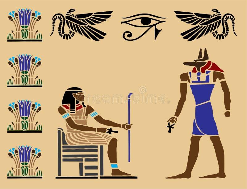 6 egipskich hieroglifów ilustracji