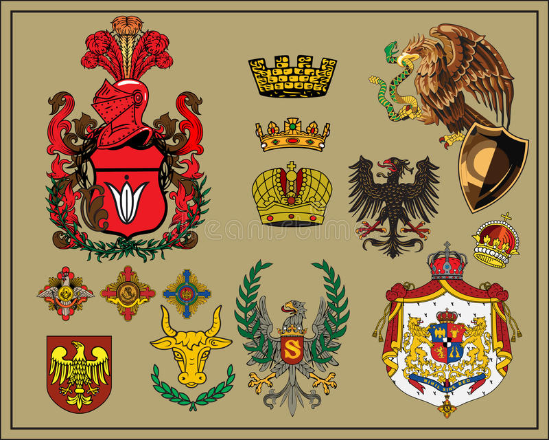 6 elementów heraldyczny set ilustracji