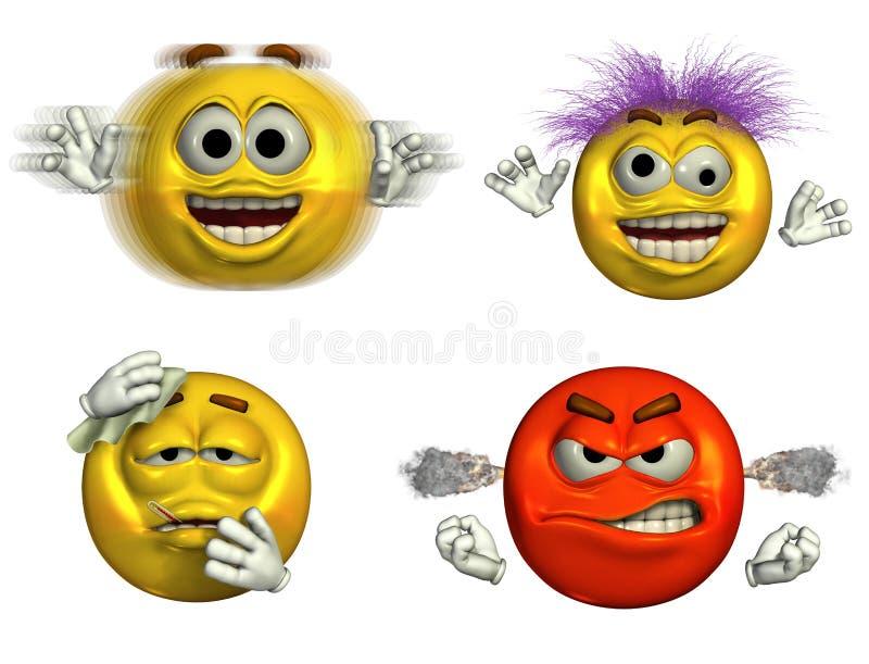 6 emoticons fyra stock illustrationer