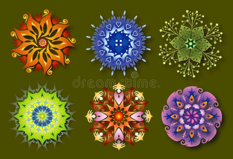 6 energetyczny kwiatu mandalas natury set ilustracji
