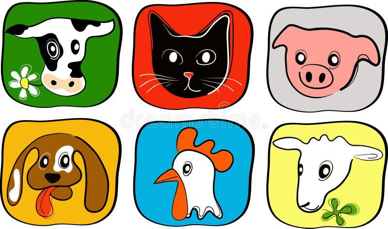 6 enkla djura symboler royaltyfri illustrationer
