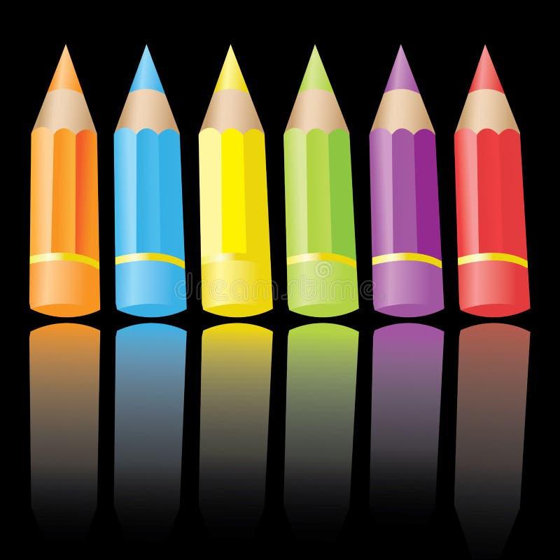6 färgblyertspennor vektor illustrationer