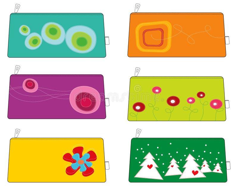 6 färgrika skraj påsar för påsar stock illustrationer