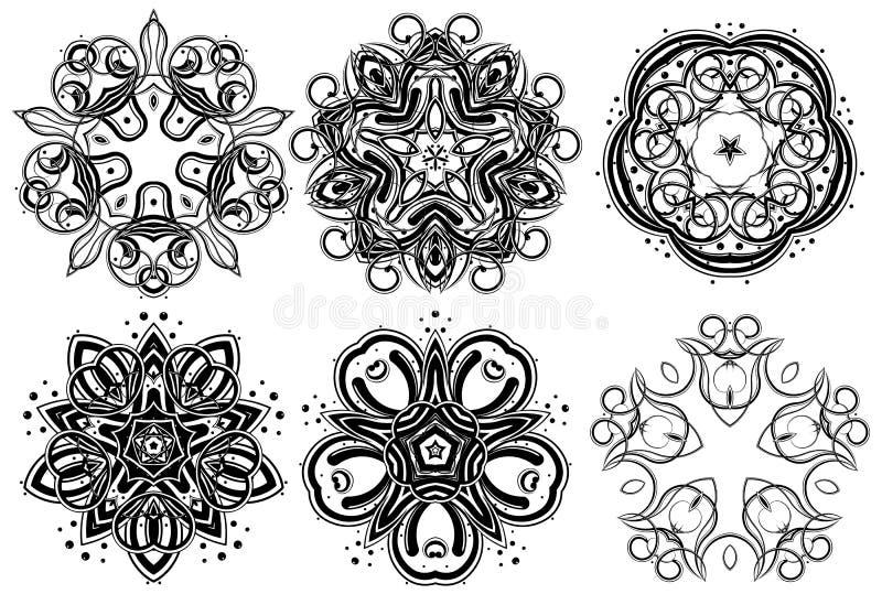 6 fantasiprydnadar vektor illustrationer