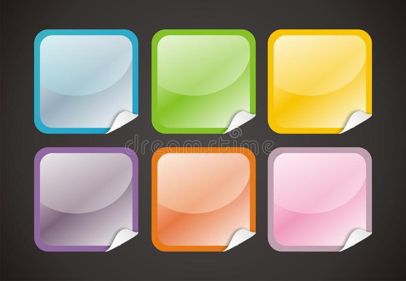 6 Glossy Web Buttons stock illustration