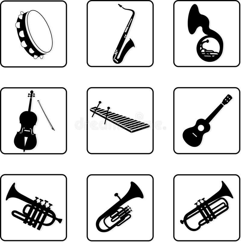 6 instrumentów muzycznych ilustracji