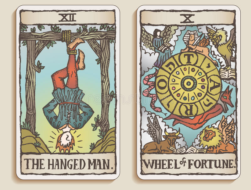6 kart tarot dwa v royalty ilustracja