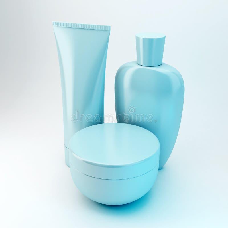 6 kosmetiska produkter arkivbild
