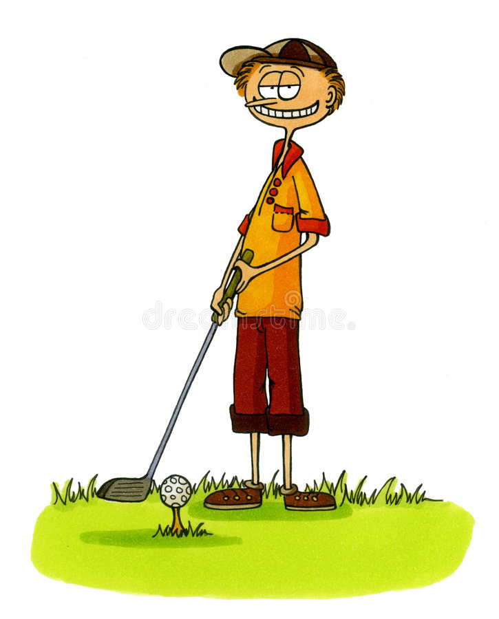 6 kreskówek golf prawdziwy golfiarz numery serii royalty ilustracja