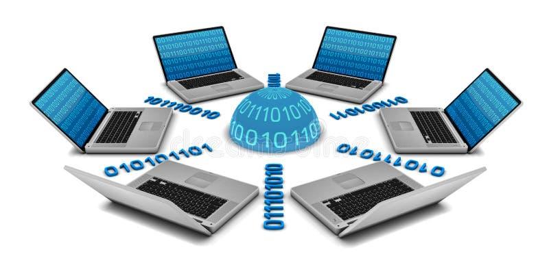 6 Laptope in einem Netz