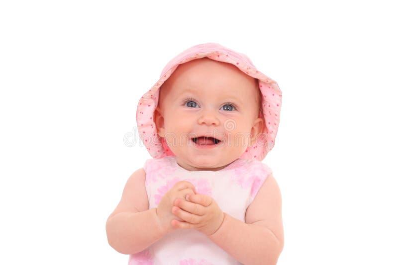 6 meses de bebé no chapéu imagem de stock royalty free