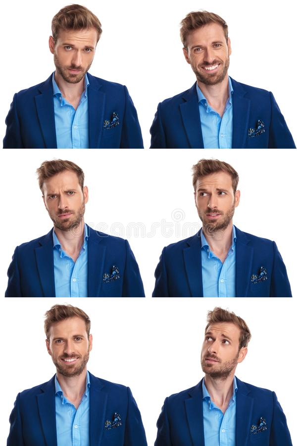 Free 6 Moods Of A Young Man Royalty Free Stock Photos - 128777908