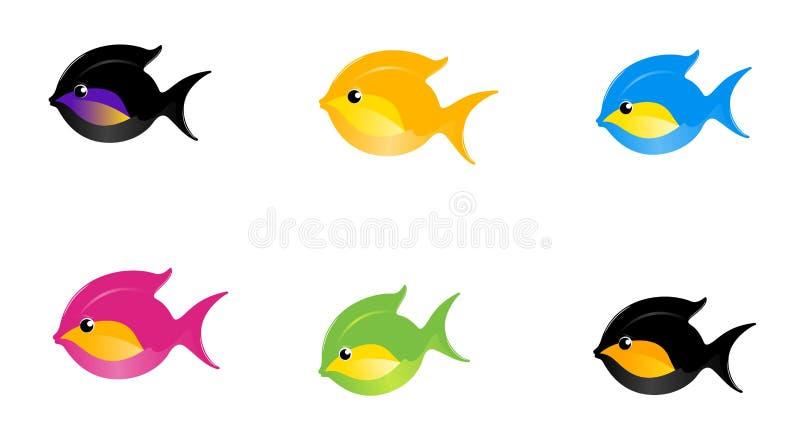 6 peixes dos desenhos animados ilustração royalty free