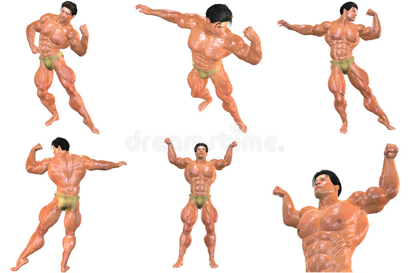 Download 6 For The Price Of 1! Body Builder 3D (with Clipping Paths) Stock Illustration - Illustration of masculine, proportion: 723423
